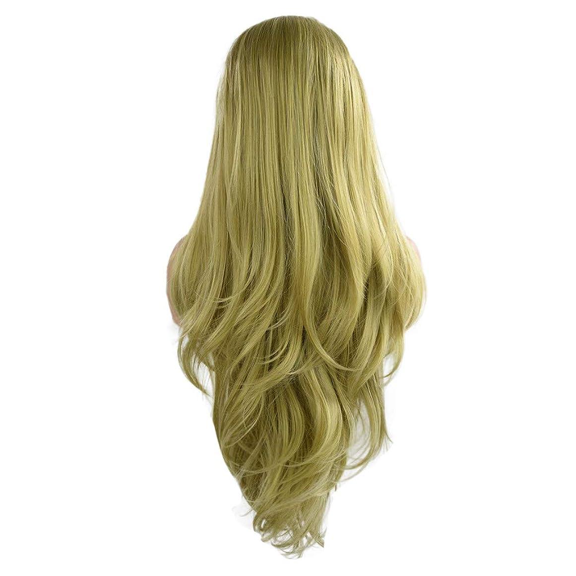説教する座るデッド女性の緑の長い巻き毛のフロントレースかつらファッションポップかつら24インチかつら