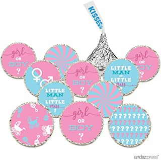 Andaz Press Chocolate Drop Labels Trio, Fits Hershey's Kisses, Ultimate Gender Reveal Baby Shower Collection, Pink and Baby Blue, 216-Pack