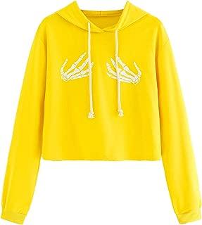 Women's Long Sleeve Casual Printed Sweatshirt Crop Top Hoodies