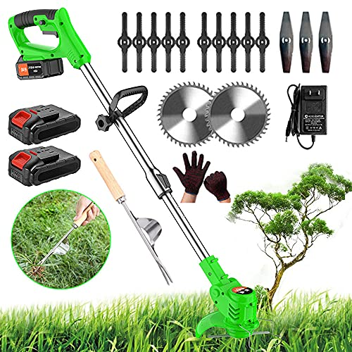 Cordless Grass Trimmer Electric Strimmers with 24V Battery & Fast Charger & Spare Blades, 600W, 6000 RPM, Lightweight Telescopic Cordless Grass Cutter Garden Tools,Green cordless strimmer,a