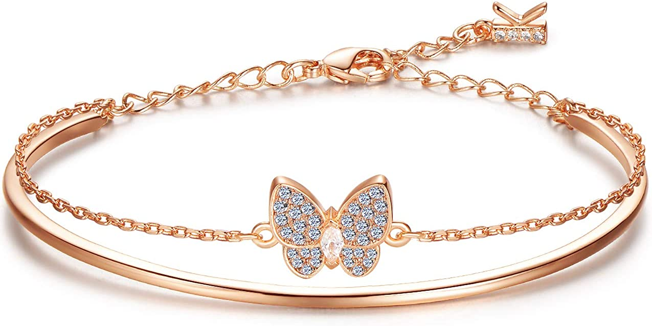 Free shipping New KIMILILY Butterfly Charm Birthstone Bracelets for fo Spring new work Gifts Women