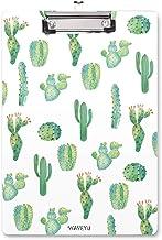 WAVEYU Clipboard, Cute Clipboard, Letter Size Decorative Clipboard Cactus Design with Low Profile Clip, Retractable Key Ho...