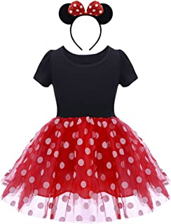 Girls Polka Dots Princess Costume Christmas Birthday Party Dress up with Mouse Ears Headband 2PCS Set for Kids Cosplay