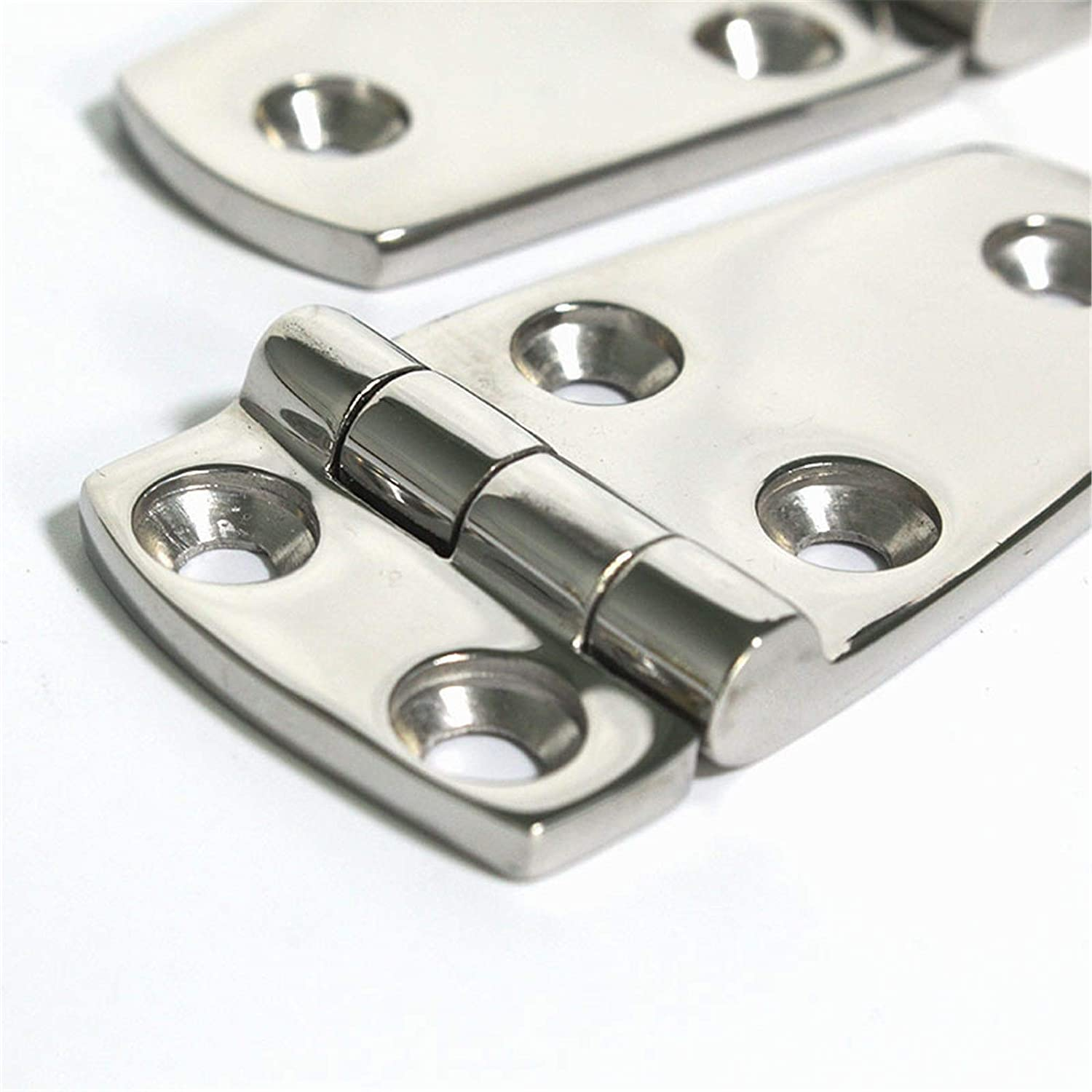 QERNTPEY Cabinet Door Hinge Five-Hole Stainless Steel Hinge Stainless Steel Door and Window Cabinet Building General Thickened Hinge Hinge Strong and Sturdy Color : Silver, Size : 7.6x3.8cm