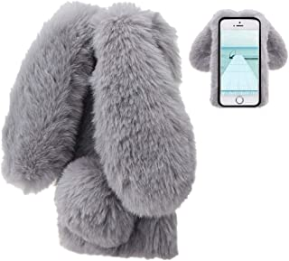 Konijn Hoes voor iPhone SE 2e Generatie 2020/iPhone 8/iPhone 7,LCHDA Pluizig Schattige Kunstmatig konijnenbont Haar Leuk L...