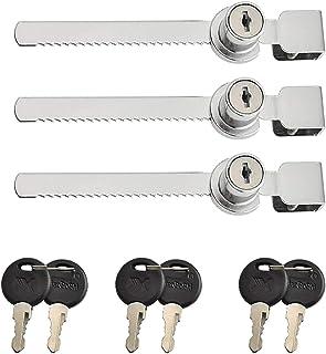 3 stuks schuifdeur ratel slot met sleutels, glazen kast slot, glazen deur slot, glazen deur vitrinekast vitrine veiligheid...
