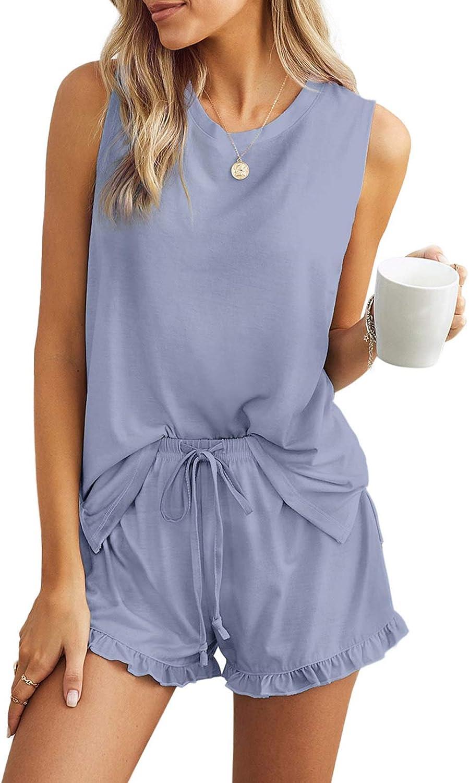Azokoe Women Tie Dye Printed Short Pajama Set Crewneck Long Sleeve Hoodie and Ruffle Shorts PJ Set Loungewear Sleepwear