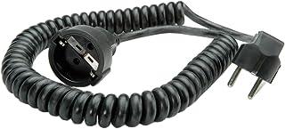 Schutzkontakt-Spiralverlängerung 230V/16A, schwarz, 2,0 m