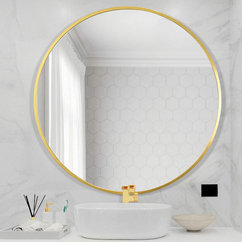 "LYNSLIM 32"" Golden Metal Frame Round Vanity Mirror - Decorative Wall Mirror for Bedroom Bathroom Washroom Living Room Entrance Mirror (Gold, 32in)"