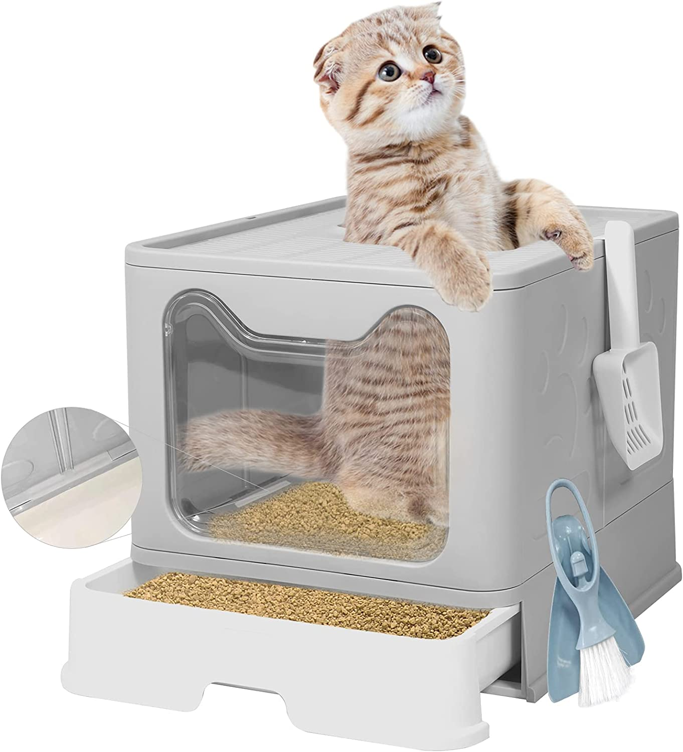 Q-Hillstar Large Top Entry Cat Box with Foldable Manufacturer Denver Mall direct delivery Lid Litter