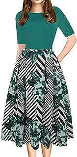 Working High Waist Dresses, 2019 Women Patchwork Print Office Party Casual Long Dress