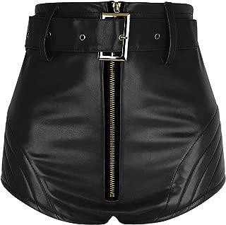 CHICTRY Damen Glänzend Wetlook GoGo Hot-Pants Shorts Panty Lack Leder Damenshorts Hohe Taille Kurze Hose Ouvert Clubwear