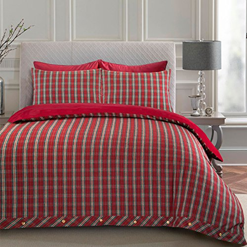 Nimsay Home Highland, Set copripiumino in flanella, 100% cotone, Red, Doppio