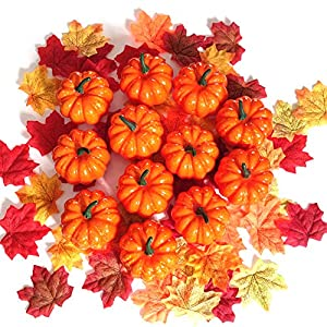 GonLei Artificial Pumpkins for Decoration, 12PCS Mini Fake Pumpkins with 50PCS Lifelike Maple Leaves, Artificial Vegetables for Christmas Thanksgiving Day House Party Decor