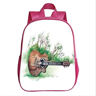 Music Decor School Bag Backpack,Wooden Guitar Branches Classical Meadow Summertime Lawn Landscape for Kindergarten Baby,9.4''Lx4.7''Wx11.8''H