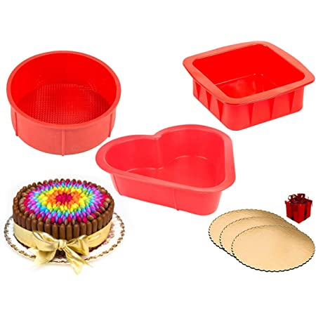 Curated Cart Silicon Round Square Heart Shape Cake Mould Set of 6 inch Each with 3 pcs of 8 inch Round Cake Base