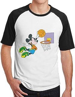 Shenigon Men Mickey Dunk Short Sleeve Baseball Tee Raglan T-Shirt Black