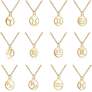 8a34fa0d977a 12 Star Zodiac Constellation Necklace Horoscope Astrology Disc Galaxy Signs  Necklaces Birthday Gift