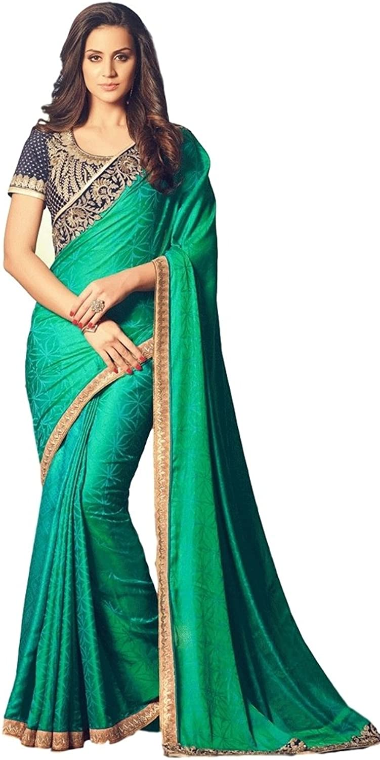 EthnicWear Beautiful New Hot Selling Sea Green Art Silk Party Wear Indian Zari Sari Saree With Designer Embroidered Blouse