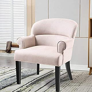 Yetech Contemporary Accent Chair Fabric Armchair Lounge Chair with Black Wood Legs for Living Room, Bedroom, Office and More(Beige)