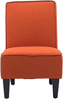 Cushioned Linen Armless Settee Loveseat Sofa Couch Home Casual Living Room Sleeper (One Seat Orange)