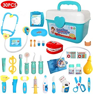 Buyger 30 Pcs Role Play Dentist Toys Doctor Nurse Carrycase Medical Kit Stethoscope with Lights and Sounds for Kids Age 3+
