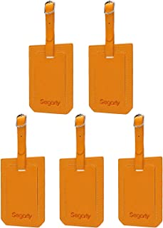 Segarty PU Leather Travel Luggage Suitcase ID Tags, Set of 5, Yellow (Yellow) - 550119_03