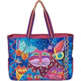 Laurel Burch Oversized Tote, 20.5 by 5.5 by 15-Inch, Cats with Butterflies