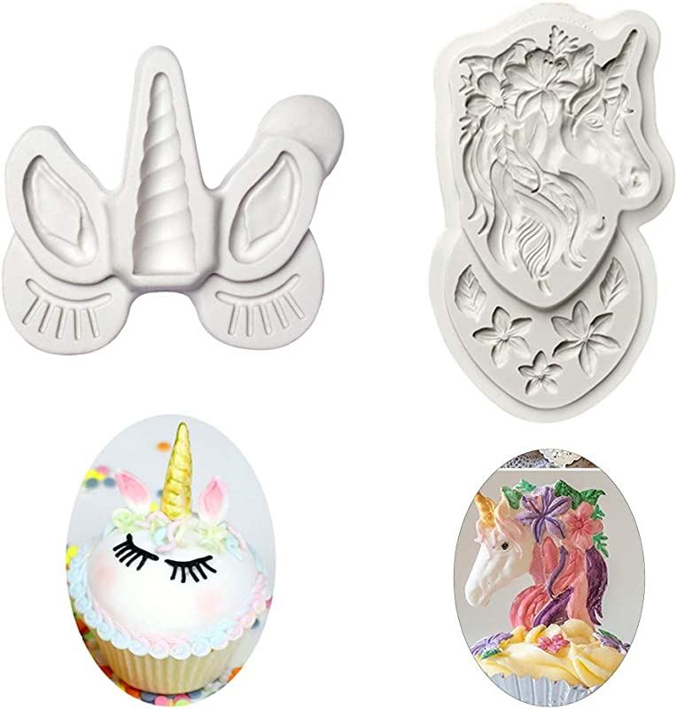 ESH7 Mini Unicorn Mold Unicorn Horn Ears Unicorn Head With Flowers Cupcake Topper Fondant Chocolate Mold