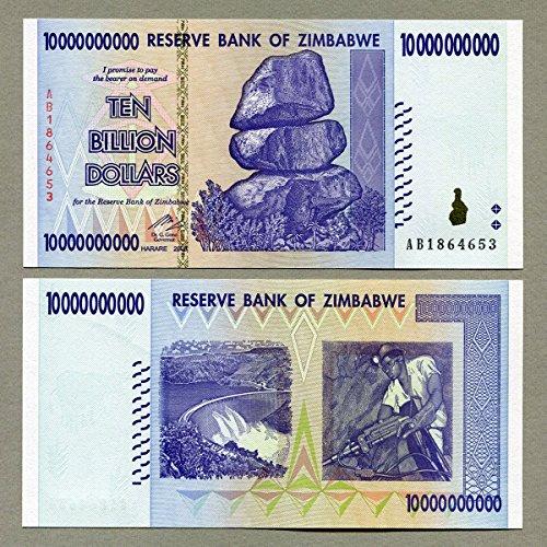 Simbabwe 10 Billion Dollar 2008 UNC, World Inflation Record, Währung Banknoten P85