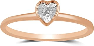 Jewelili 10kt 玫瑰金 1.9 毫米钻石心形堆叠戒指,尺寸 6