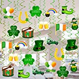 Tifeson St. Patrick's Day Decorations Hanging Swirls - 36 PCS Shamrock Clover Leprechaun Horseshoe Ceiling Foil Swirls for Lucky Day Home Office Decor - Saint Patrick's Day Irish Party Hanging Decorations Supplies