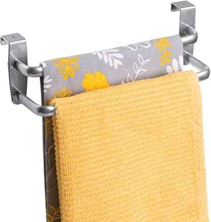 mDesign Double Tea Towel Holder for Hanging Over the Kitchen Cupboard Door - Towel Rack - No Drilling Necessary - Also Suitable as a Bath Towel Holder - Silver