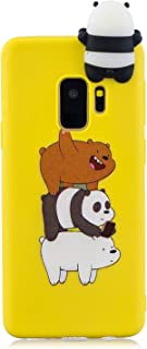 Galaxy S9 Silicone Case FNBK Striped Bear Design Smooth Touch Rubber Gel Soft TPU Bumper Back Case for Kids Ultra Thin Shockproof Cover