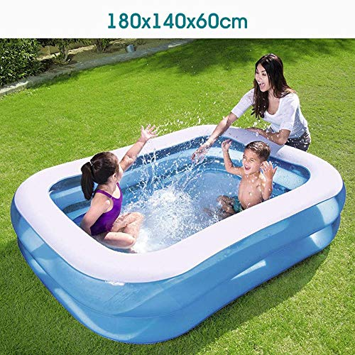 Beautiful·HLS Großes Aufblasbares Schwimmbecken Für Kinder Kinderwaschbecken Haushaltspaddelplatz Außenschwimmbad Tragbar, 180X140X60Cm