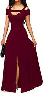 EVALESS Women Sexy V Neck Cold Shoulder Front Split Flare Party Long Maxi Dress
