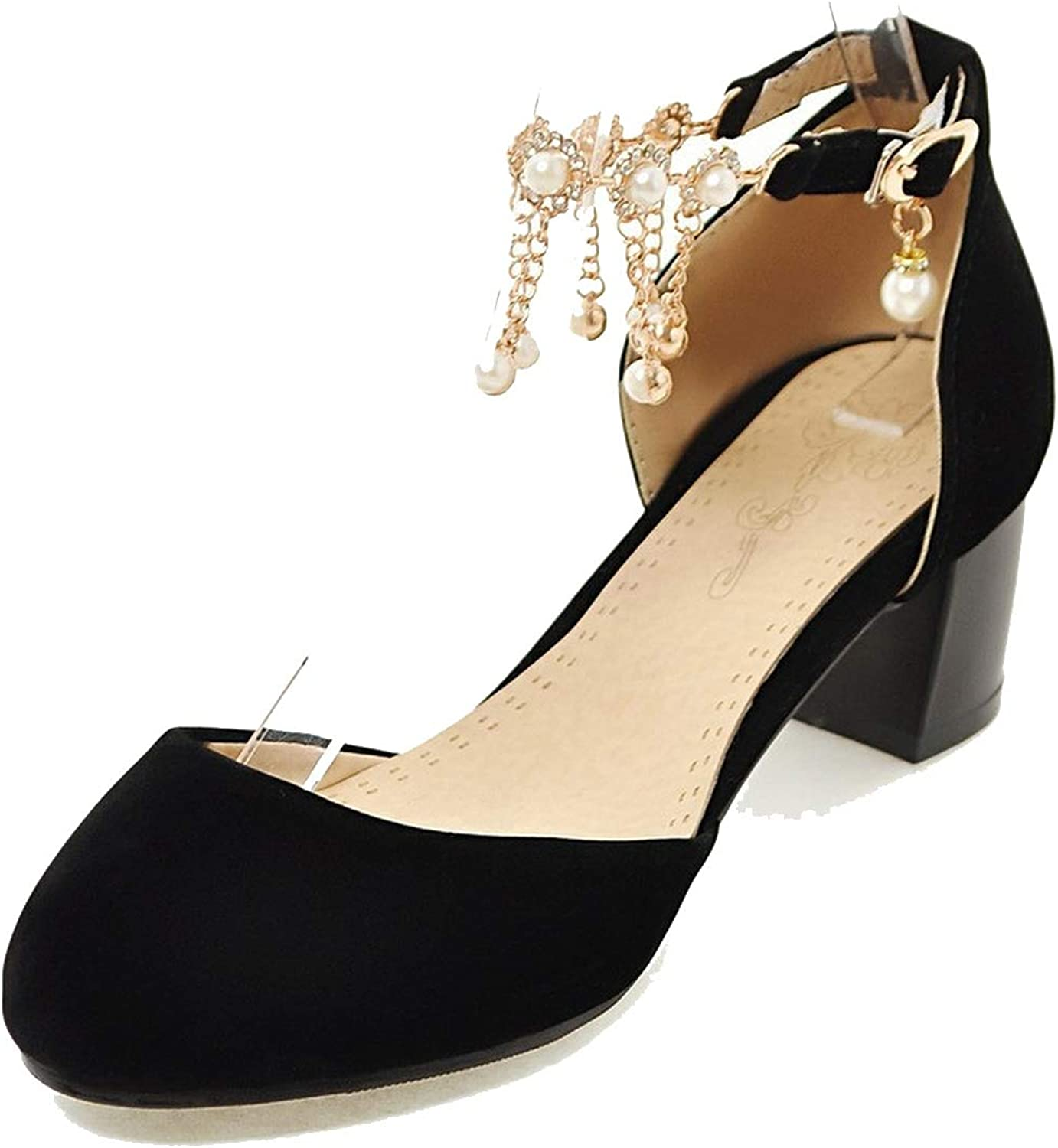 Pumps Women shoes Sweet Bead Round Toe Party shoes Comfortable Square Heels shoes Woman,Black,10