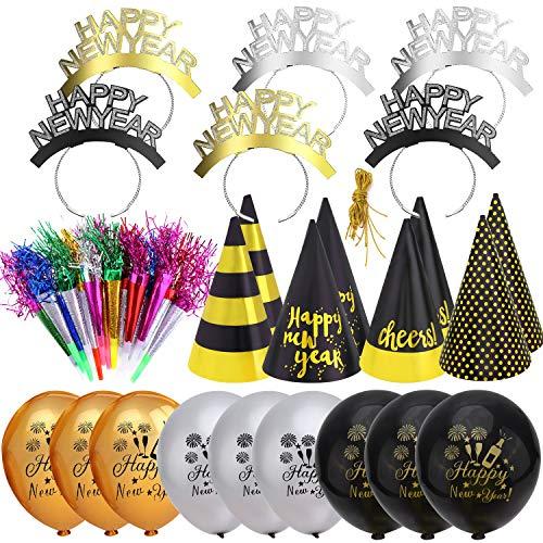 HOWAF 2021 Forniture per Feste di Capodanno 2021 Decorazioni Kit, 43 Pezzi Felice Anno Nuovo Fascia Cappelli Accessori Foto Booth Scoppi e Palloncini per Bambini Adulti Capodanno Decorazioni 2021