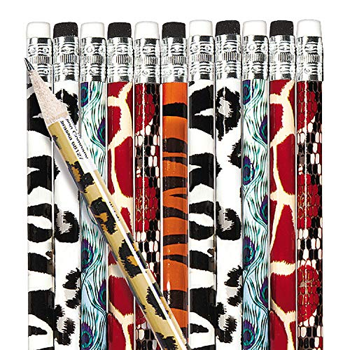Animal Print Pencil Assortment (144 pencils) zebra, tiger, giraffe and more