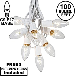 C9 Clear Christmas String Light Set - Outdoor Christmas Light String - Wedding String Lights - Hanging Christmas Lights - Roofline Light String - Outdoor Patio String Lights - White Wire - 100 Foot