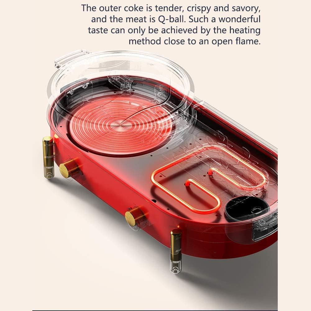 YLJYJ Ensemble de vin Gril électrique Portable Gril Chaud Pot intérieur Grand ménage cuisinière électrique antiadhésive multifonctionnelle avec stepless Red