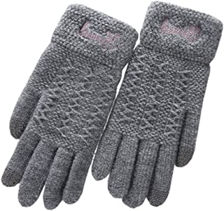 Only Faith Women Woolen Knitted Screen Touch Warm Gloves Mittens for Winter