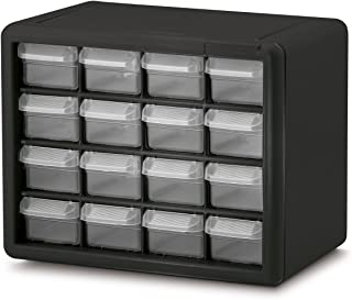 Akro-Mils 10116 16 Drawer Plastic Parts Storage Hardware and Craft Cabinet, 10.5-Inch x 8.5-Inch x 6.5-Inch, Black