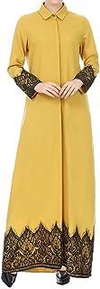 QueenMM Women`s Cotton Long Sleeve Muslim Dress with Button Down Dubai Kaftan Long Dress Abaya Islamic Clothing