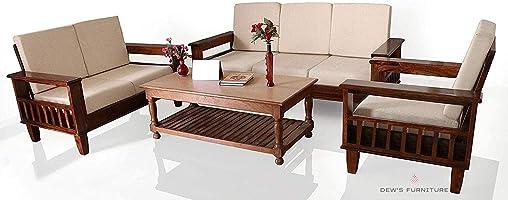 Dews Furniture Solid Sheesham Wood Standard Sofa Set 6 Seater Furniture Wooden 6 Seater Sofa Set (3+2+1) Teak Wood Sofa...