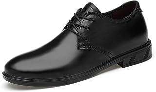 DADIJIER Oxfords Vestido Zapatos para Hombres Redondos Capteo Plaid 3-Ojos Lace Up Grueso Bloque Tacón De Cuero Genuino Suela