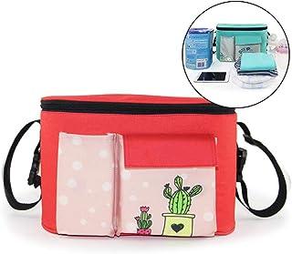 Buggy Organiser Bag, Stroller Organiser Storage Pockets with 2 Side Bottle Holders, Shoulder Strap Used as Carry-On Handbag, Diaper Bag Universal for Handlebar of Any Pushchair/Buggy/Stroller