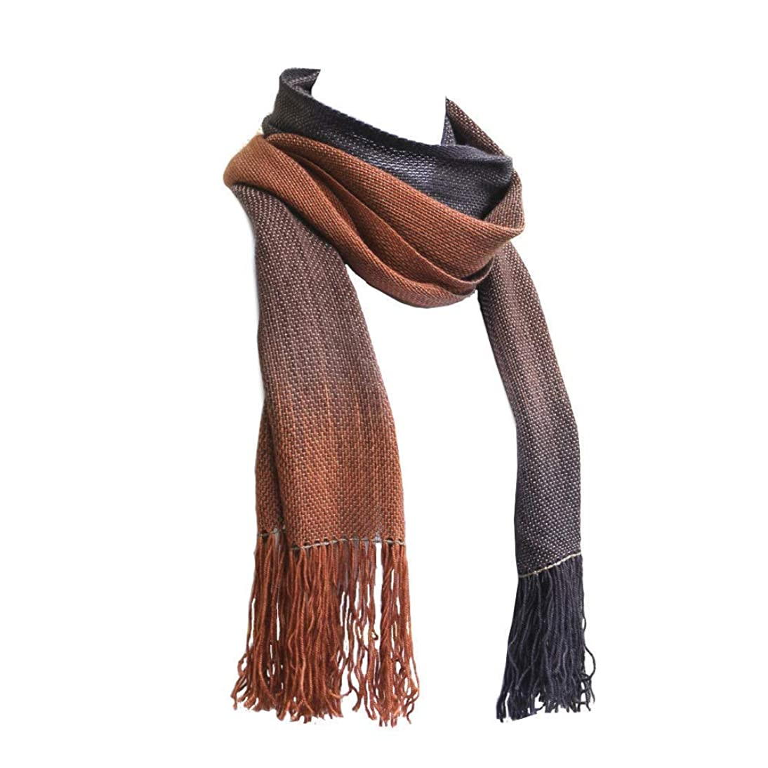 Woven Scarf in Brown Shades, Merino Wool Scarf, Unisex Scarf, Gift for Her, Gift for Him, Men Scarf, Women Scarf, Extra Long Scarf with Fringe zcfi854314722649