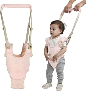 Handheld Baby Walking Harness for Kids, Adjustable Toddler Walking Assistant with Detachable Crotch, Safe Standing & Walk Learning Helper for 8+ Months Baby(Pink) (Hexagon Patterns, Pink)