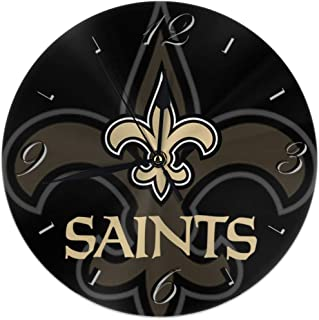 Aoskin New Orleans Saints Silent Non Ticking 9.8 in Quality Quartz Battery Operated Round Easy to Read Home/Office/School Clock